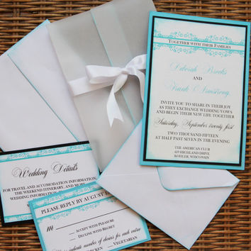 Handmade Wedding Invitation, Tiffany Inspired, Blue and Black, Invite, RSVP, Envelopes, Ribbon, Vellum Wrap, SAMPLE SET
