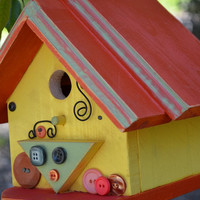 Birdhouse Wood Decorative Outdoor Garden Yard Vintage Button Bird House Handmade Birdhouses Colorful Wire Swirls Signature Free Shipping