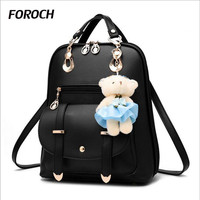 FOROCH Women Backpack For Girl Laptop Backpacks Leather Female Fashion Bags School Bagpack Bolsas Mochila Feminina Schoolbag 268