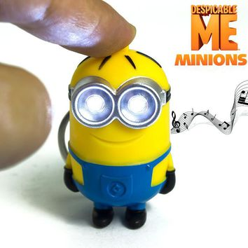 "Despicable Me Minions Led Keychain Cute Action Figure Toy Key Chain Wih Flashlight And Sound ""i Love U""gift For Girlfriend"