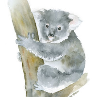 Koala Watercolor Painting - 11 x 14 - Giclee Print - Animal Painting Wall Art - Australia Animal