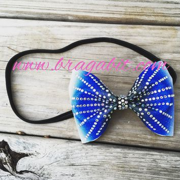 Black and blue ombre glitter headband with rhinestones