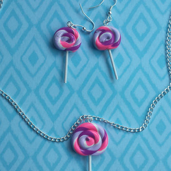 Lollipop,Candy,Necklace,Earring,Set,Pink,Purple,All colors,Food,Miniature,Cute,Kawaii,foodies,Clay