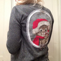 Silver Christmas Kitten Applique Cardigan Sweater