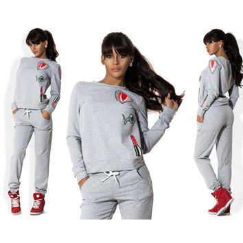 Long sleeve Women Tracksuit Hoodies Sweatshirt +Pants Jogging Sportswear Costume 2 Piese Set Sport Women Suit LJ4727R