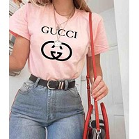 GUCCI Top Printed letters pattern loose lovers cotton T-shirt B-ZANDNR Pink