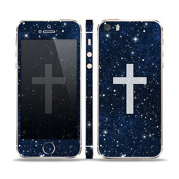 The Vector White Cross v2 over Bright Starry Sky Skin Set for the Apple iPhone 5s