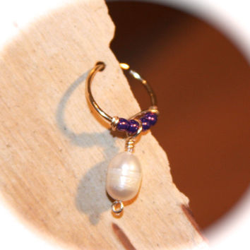 Indian Style Cartilage/Nose Hoop Earrings, Pearl Nose Ring, Nose Hoop, Ear Cuff, Helix Hoop, Nose Rings, Seamless Hoop, Piercing Jewelry