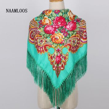 2017 New Women Spring Brand Print Scarf Russian Ethnic Style Cotton Floral Tassel big Square Wraps Winter Blanket Scarf Shawl