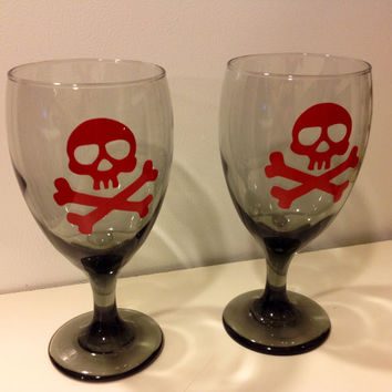 Halloween Wine Glasses, Goblet Set, Skull Goblet, Skull and Crossbone Goblet Set, Pirate Glass Goblet, Poison Glass Set, Pirate Decor, OOAK