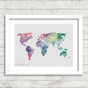 World Map Watercolor Print, Watercolor Map Art, Minimalist Art Print, Home Decor Wall Art, Not Framed, Buy 2 Get 1 Free! [No. 17]