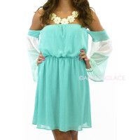 Marina Drapey Off Shoulder Dress Mint
