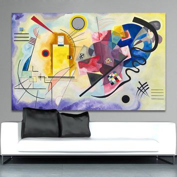 HDARTISAN Abstract Wall Pictures Art For Living Room Home Decor Yellow Red Blue Wassily Kandinsky Oil Painting No Frame