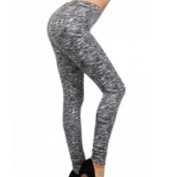Bellini Black / White Print Fleece Lined Leggings