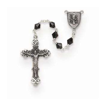 Boys Black Austrian Crystal First Communion Rosary