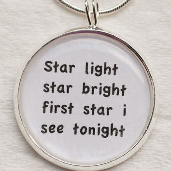 Star Light Star Bright necklace--song,quote,hearts,love,bride,wedding,valentines