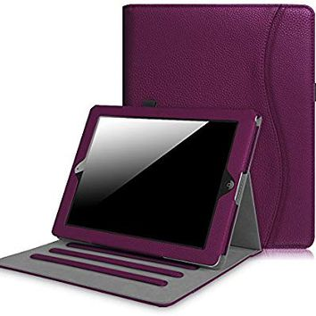 Fintie iPad 2/3/4 Case [Corner Protection] - [Multi-Angle Viewing] Folio Smart Stand Cover with Pocket, Auto Sleep / Wake for Apple iPad 2, iPad 3 & iPad 4th Gen with Retina Display, Purple