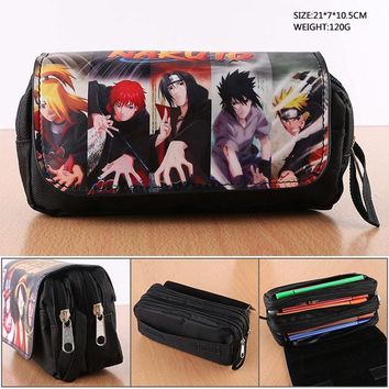 Double-zipper Anime NARUTO Pencil Bag Monkey D Luffy Black Butler Student Stationery Bag Fairy Tail Makeup Pencil Pouch Bag