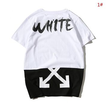Off White New fashion letter arrow painting print contrast color couple top t-shirt 1#
