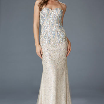 G2004 Jeweled Lace Pageant Prom Dress Evening Gown