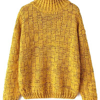 Yellow Turtle Neck Checked Sweater