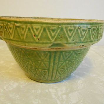 Vintage Stonearew, Earthenware Small Green Mixing Bowl with Heart Pattern