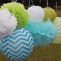 8 pieces CheVron Lime Green & Blue paper lantern tissue paper pompom//nursery decor// baby bridal shower// gender reveal