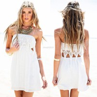 2016 Hot New UK Women Summer Sexy Boho Lace Dresses Crochet Solid Elegant White Color Beach Mini Dress Fashion Hot Clothing