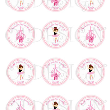 Ballerina Stickers, Cupcake Topper, Tags, great for birthday partys. Digital file