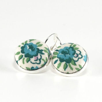 Green Roses Silver Toned Leverback Earrings Blue Green Flowers on White Fabric Covered Buttons Nickel Free Jewelry