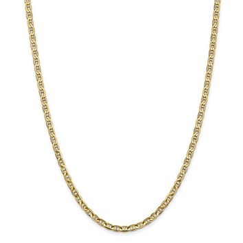 14K Yellow Gold 3.75mm Concave Anchor Chain 16 Inch