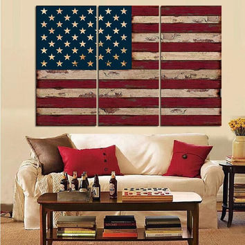 3Panel American USA United States Of America Flag Canvas Wall Art Print On  Canvas Painting For