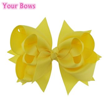 Your Bows 1PC 5 inches Kids Hair Bows 3 Layers Solid Lemon Bows Hair Clips Boutique Ribbon Bows For Girls Hair Accessories