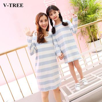 V-TREE Mother Daughter Dresses Casual Matching Mother Daughter Clothes Nightgown  Mommy And Me Clothes Girls Sleepwear