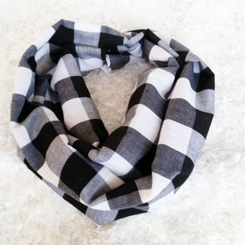 Black and White Baby, Toddler, Kids, Teens and Adults Checkered Infinity Scarf.