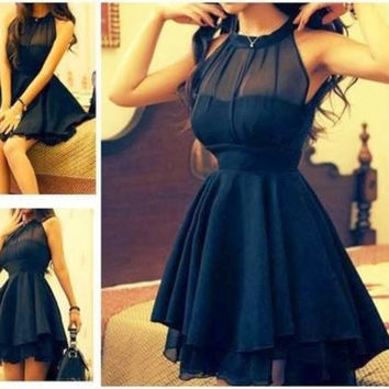 Black High neck Homecoming Dress,Sleevesless Chiffon Homecoming Dresses