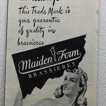 Vintage 1945 Maiden Form Brassieres Bras Pin Up Girl Print Ad Advertising Wall Art Decor