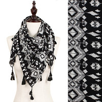 Black Patterned Tassel Scarf