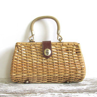 vintage Nantucket Wicker Purse / Handle Purse / Ladies Classic Summer Bag