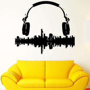 Wall Sticker Vinyl Decal Music Melody Headphones Sound City Panorama (ed423)