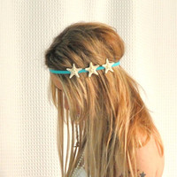Starfish Headband Triple White Starfish on Elastic Headband Hippie Headwrap