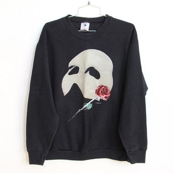 Vintage 1986 Phantom of the Opera / Black Crew Neck Sweatshirt / Glow In The Dark / Unisex Pullover