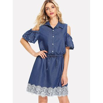 Lace Contrast Open Shoulder Drawstring Denim Dress