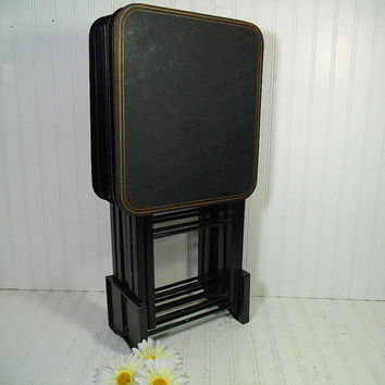 Vintage Black Enamel with Gold Trim Wooden Folding Tray Tables Set of 4 with Caddy - Retro Art Deco Graphic Ebony Design Mad Men Collection