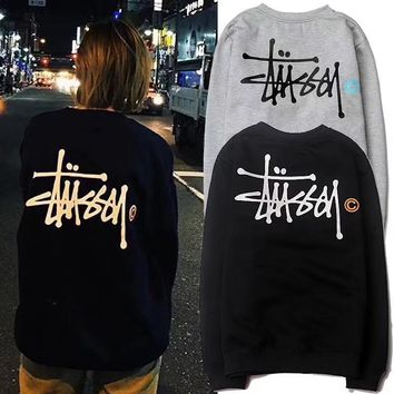 STUSSY small c couple fleece crewneck sweater