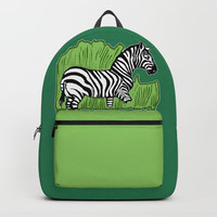 Zebra Walking Through Grass Backpacks by Artist Abigail