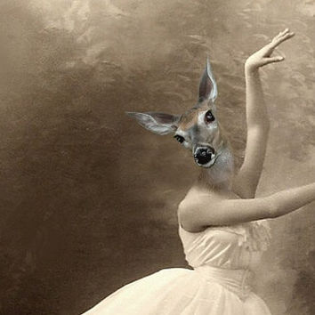Grace - Vintage Deer 8.5x11 Print - Ballerina - Altered Photo - Anthropomorphic - Photo Collage - Sepia - Gift Idea - Whimsical Art