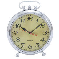 Solid Classic Metal Clock with Stable Base and Alarm