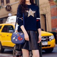 """Chloe"" Women Fashion Multicolor Stripe Embroidery Sequins Five-pointed Star Long Sleeve Knit Sweater Ruffle Short Skirt Set Two-Piece"