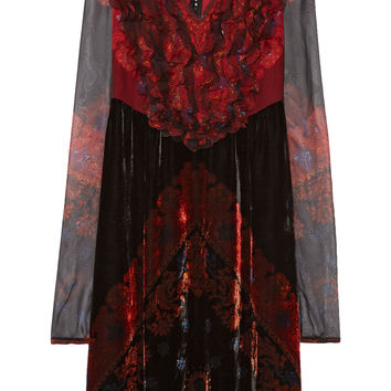 Givenchy - Bandana printed velvet dress with chiffon